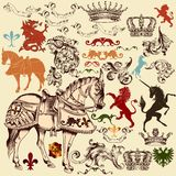 Collection of vector heraldic elements for design Royalty Free Stock Image