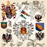 Collection of vector heraldic elements for design. Vector set of luxury royal vintage elements for your heraldic design Royalty Free Stock Images