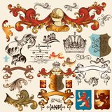 Collection of vector heraldic elements for design Royalty Free Stock Photography