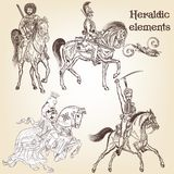 Collection of vector heraldic elements horses and knights Royalty Free Stock Image