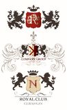Collection of vector heraldic elements for logotype design Vector Illustration