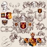Collection of vector heraldic elements in vintage style Stock Photos