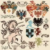 Collection of vector heraldic elements in vintage style Stock Photo