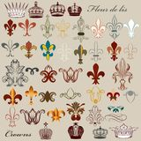Collection of vector heraldic fleur de lis and crowns. Vector set of luxury royal vintage elements for your heraldic design Stock Image