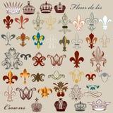 Collection of vector heraldic fleur de lis and crowns