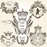 Collection of vector heraldic frames shields and coat of arms Stock Image