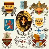 Collection of vector heraldic shields for design Royalty Free Stock Photo