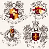 Collection of vector heraldic shields in vintage style Royalty Free Stock Image