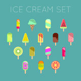 Collection of 16 vector ice cream illustrations isolated on blue. Collection of 16 vector ice cream illustrations isolated on blue Royalty Free Stock Image