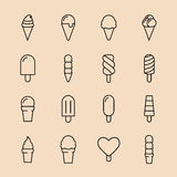 Collection of 16 vector ice creams. Chocolate, vanilla, heart ice creams. Vector illustration  on a light background. Ice cream cone and ice cream on stick Stock Photo