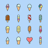 Collection of 16 vector ice creams. Chocolate, vanilla, heart ice creams. Vector illustration  on a light background. Ice cream cone and ice cream on stick Royalty Free Stock Photos