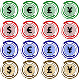 Collection of 16  vector icons - currency symbols Royalty Free Stock Image