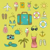 Collection of vector icons on vacation Royalty Free Stock Image