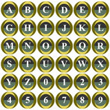Collection of 36 isolated vector icons on white background - alphabet and numerals. Computer generated collection of 36 isolated vector icons on white background Royalty Free Stock Photography
