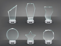 Collection vector illustration of modern glass trophies, prizes Stock Photos
