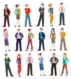 Collection vector illustrations of business people. Collection vector illustrations of business men and women in different poses. Flat icons Stock Photography