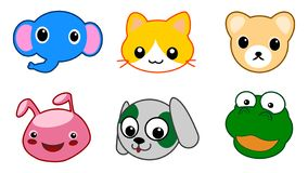 A collection of vector illustrations of colorful comical cartoon animals isolated. On a white background vector illustration