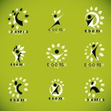 Collection of vector illustrations of happy abstract human with Royalty Free Stock Photography
