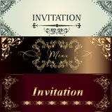 Collection of vector invitation cards in vintage style Royalty Free Stock Images