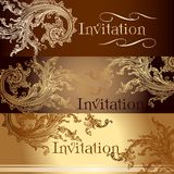 Collection of vector invitation cards in vintage style Stock Photo