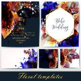 Collection of vector invitation templates with floral and spot e stock illustration