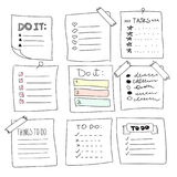 Collection of vector isolated outline hand drawn check to do list, bullet, check Royalty Free Stock Image
