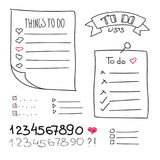 Collection of vector isolated outline hand drawn check to do list, bullet, check Royalty Free Stock Photography