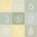 Collection of  vector line icons with sleep problems and insomnia symbols Stock Images