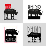 Collection of vector logo with rhinoceros. Stock Images