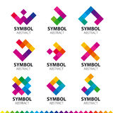 Collection of vector logos of abstract modules royalty free illustration