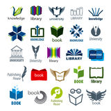 Collection of vector logos books and pens Stock Images