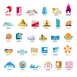 Collection of vector logos buildings for leisure tourism Royalty Free Stock Image