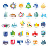 Collection of vector logos cities Royalty Free Stock Photography
