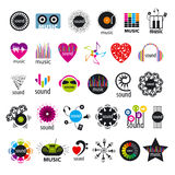 Collection of vector logos music and sounds. Biggest collection of vector logos music and sounds Stock Photo