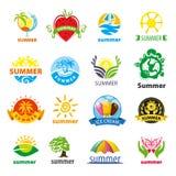 Collection of vector logos summer Royalty Free Stock Photos