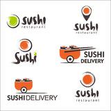 Collection of vector logos of sushi. Logo design for restaurants of Japanese food Royalty Free Stock Photo