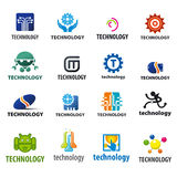 Collection of vector logos technology stock illustration