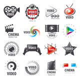 Collection of vector logos for video production royalty free illustration