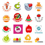 Collection of vector logos vitamins Stock Photography