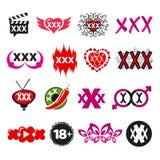 Collection of vector logos xxx stock illustration
