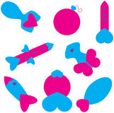 Collection of Vector Love Rockets and Bombs Royalty Free Stock Photo