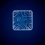 Collection of vector microchip design, cpu. Information communic Royalty Free Stock Photo