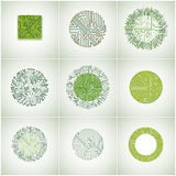 Collection of vector microchip designs, cpu. Information communi Royalty Free Stock Photography