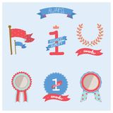 Collection of vector multicolored badges, trophies Stock Photos