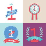 Collection of vector multicolored badges, trophies Royalty Free Stock Image