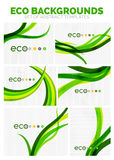 Collection of vector nature green eco abstract backgrounds. Plant stripes wave concept Royalty Free Stock Photos