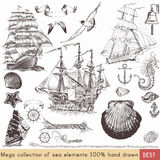 Collection of vector nautical elements on theme of sea Stock Photography