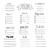 Collection of vector  outline hand drawn check to do list, bullet, check Stock Photo