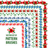 Collection of vector pattern brushes with poppies and cornflowers. Decorative frames and borders. Stock Image