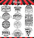 Collection of vector pizza signs, symbols and icons. Vector pizza badges stickers and labels food set. Royalty Free Stock Images